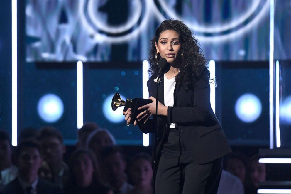 Alessia Cara receives the Best New Artist Grammy during the 60th Annual Grammy Awards show, Jan. 28, 2018, in New York.