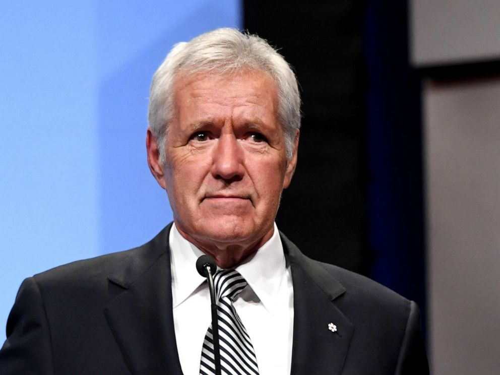 PHOTO: Jeopardy! host Alex Trebek speaks as he is inducted into the National Association of Broadcasters Broadcasting Hall of Fame during the NAB Achievement in Broadcasting Dinner at the Encore Las Vegas, April 9, 2018.