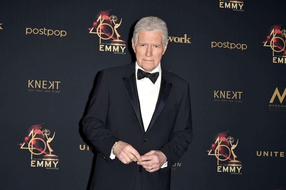 PHOTO: Alex Trebek, winner of the Outstanding Game Show Host award, poses at the 46th annual Daytime Emmy Awards at Pasadena Civic Center, May 5, 2019, in Pasadena, Calif.
