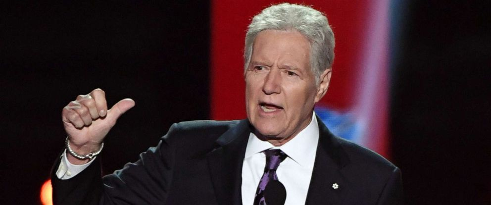"PHOTO: ""Jeopardy!"" host Alex Trebek presents an award during the 2019 NHL Awards at the Mandalay Bay Events Center on June 19, 2019 in Las Vegas, Nevada."