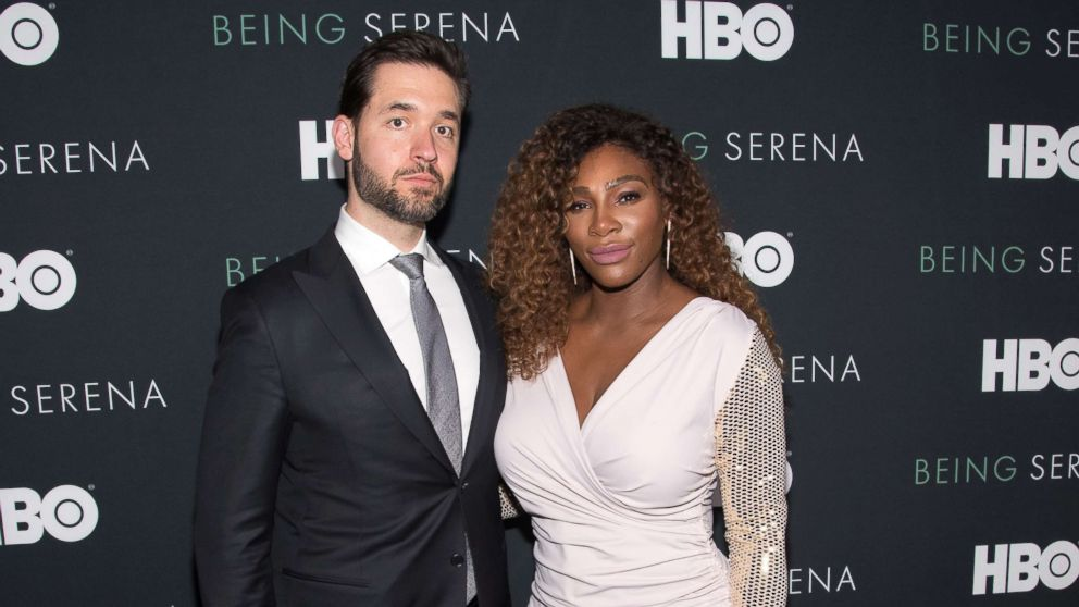 """Serena Williams and husband Alexis Ohanian attend the """"Being Serena"""" New York Premiere at Time Warner Center, April 25, 2018, in New York City."""