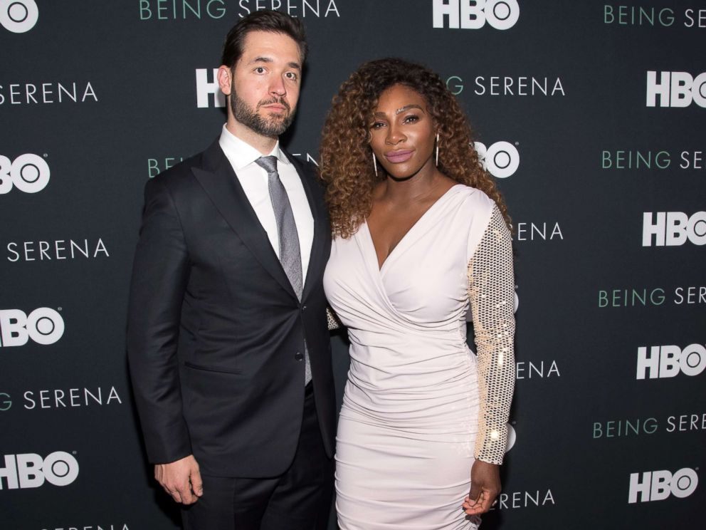 PHOTO: Serena Williams and husband Alexis Ohanian attend the Being Serena New York Premiere at Time Warner Center, April 25, 2018, in New York City.