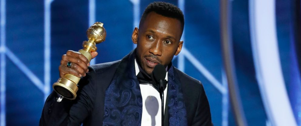 "PHOTO: Mahershala Ali accepting the award for best supporting actor in a motion picture for his role in ""Green Book"" during the 76th Annual Golden Globe Awards at the Beverly Hilton Hotel, Jan. 6, 2019, in Beverly Hills, Calif."