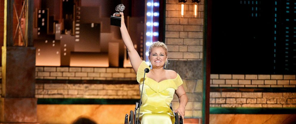 PHOTO: Ali Stroker accepts the Best Performance by an Actress in a Featured Role in a Musical award for Rodgers & Hammersteins Oklahoma! onstage during the 2019 Tony Awards at Radio City Music Hall, June 9, 2019, in N.Y.C.