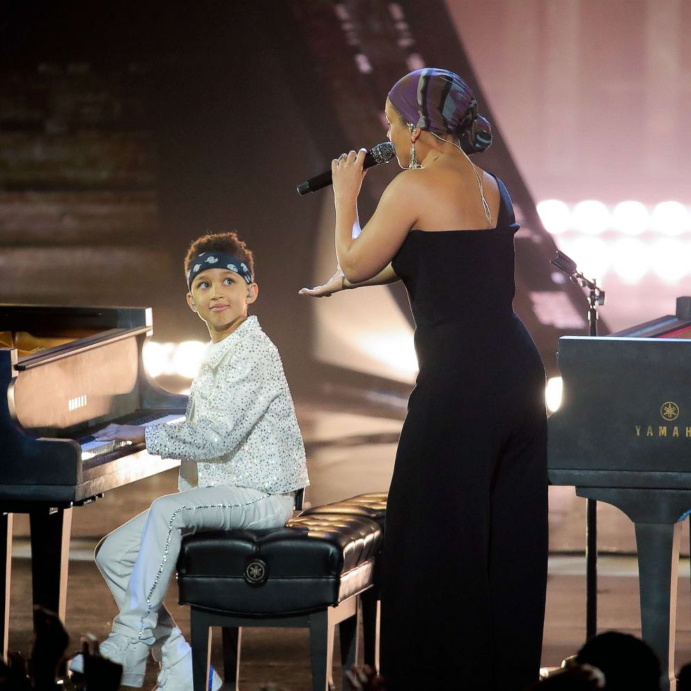 PHOTO: Alicia Keys performs on stage with son Egypt at the 2019 iHeartRadio Music Awards at the Microsoft Theater, March 14, 2019, in Los Angeles.