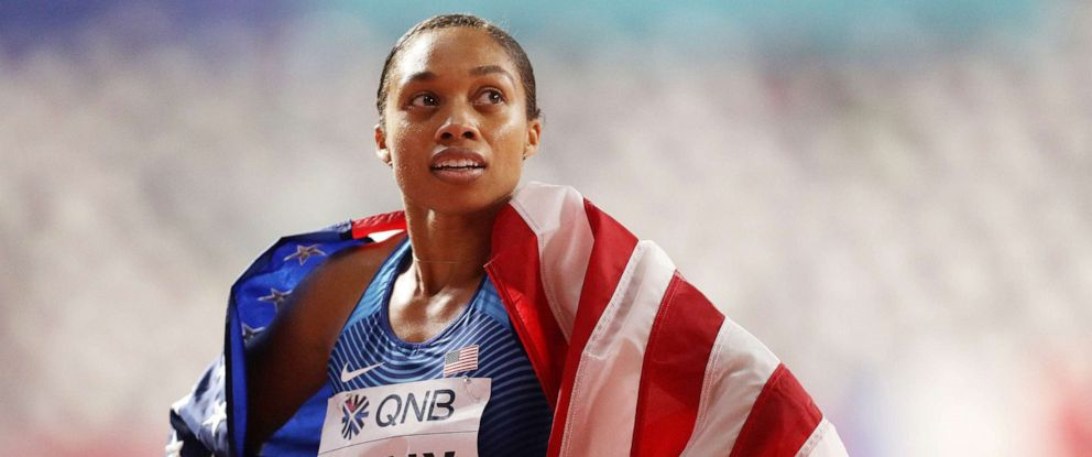 PHOTO: Allyson Felix reacts after setting a new world record in the 4x400 Metres Mixed Relay during day three of 17th IAAF World Athletics Championships Doha 2019 at Khalifa International Stadium on Sept. 29, 2019 in Doha, Qatar.