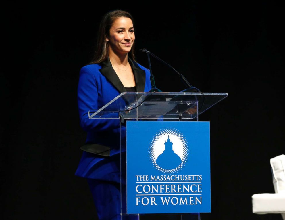 PHOTO: Captain of the gold medal-winning U.S. Olympic womens gymnastics teams in 2012 and 2016 Aly Raisman speaks during 2018 Massachusetts Conference For Women in Boston, Dec. 5, 2018.