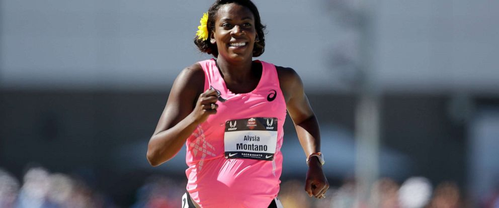 PHOTO: A pregnant Alysia Montano runs in the opening round of the womens 800 meter run during day 2 of the USATF Outdoor Championships at Hornet Stadium, June 26, 2014, in Sacramento, Calif.