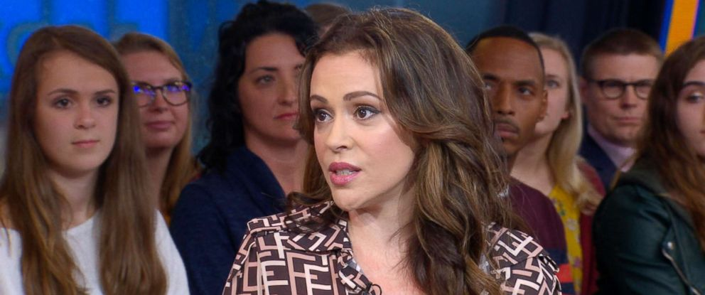 "PHOTO: Alyssa Milano appears on ""Good Morning America,"" Oct. 15, 2018."