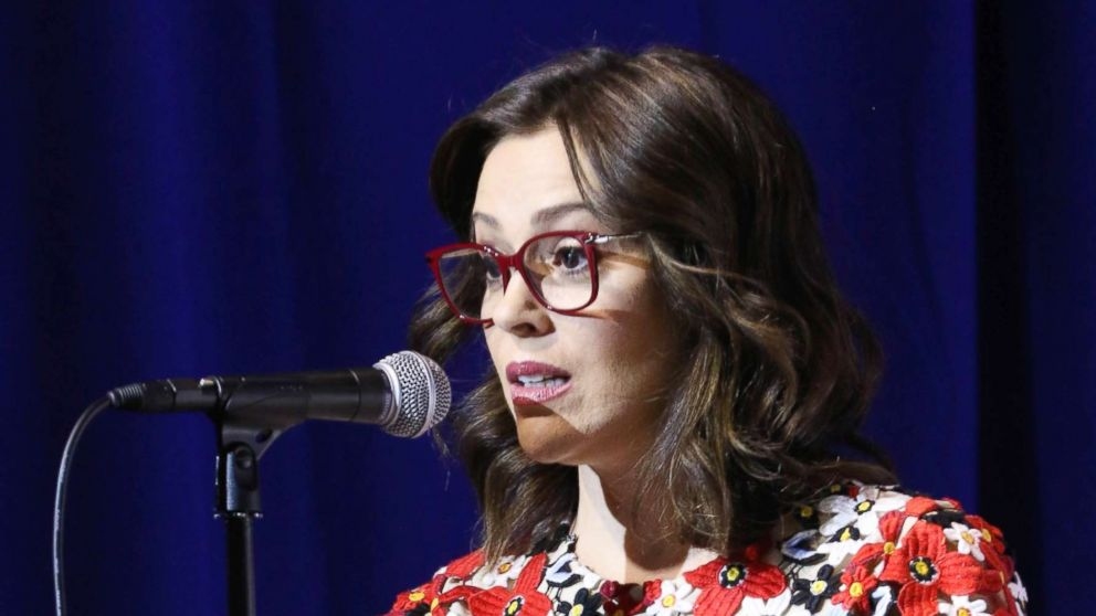 Actress Alyssa Milano moderates the 25th Congressional District Democratic Candidate Debate Presented by NextGen America at The Canyon, May 8, 2018, in Santa Clarita, Calif.