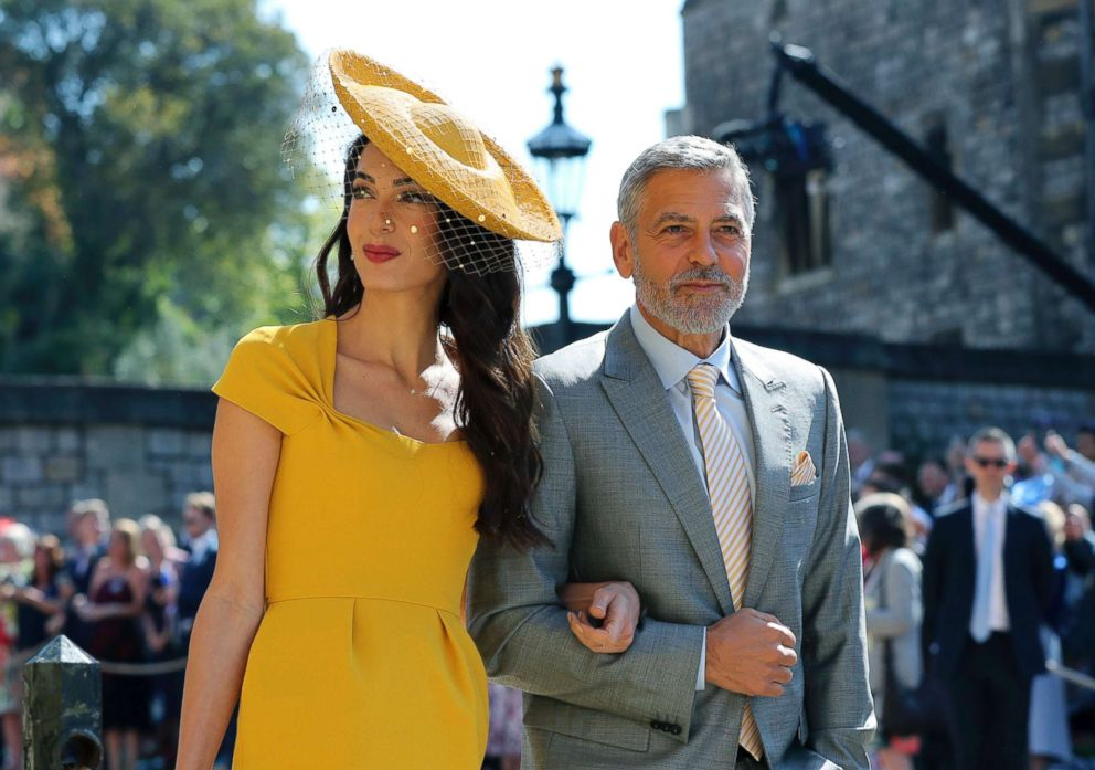 Amal Clooney and George Clooney arrive for the wedding ceremony of Prince Harry and Meghan Markle at St. George's Chapel at Windsor Castle in Windsor, near London, May 19, 2018.