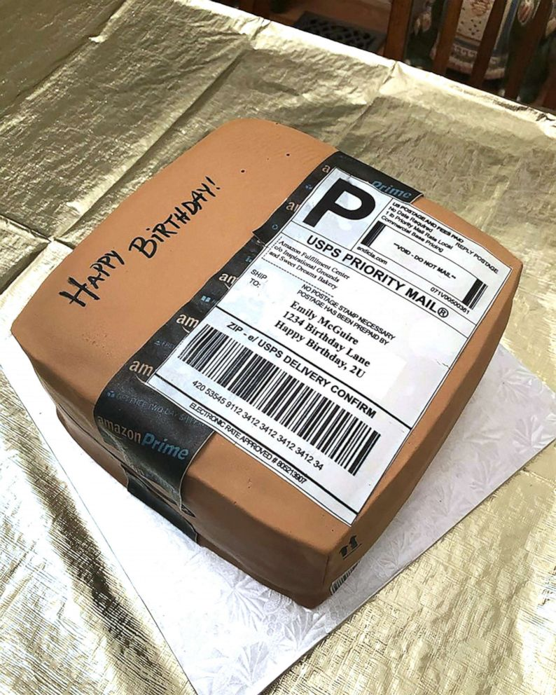 PHOTO: Emily McGuire of Sanford, N.C., said shes a proud Amazon Prime member and frequently shops on the site, so her husband had an Amazon cake made for her July 19 birthday.