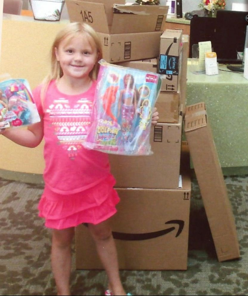 Katelyn Lunt, 6, donated $350 worth of toys from Amazon to Primary Children's Hospital in Salt Lake City, Utah.