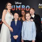 "Angelina Jolie, Knox Leon Jolie-Pitt, Zahara Marley Jolie-Pitt, Vivienne Marcheline Jolie-Pitt, and Shiloh Nouvel Jolie-Pitt attend the premiere of Disney's ""Dumbo"" at El Capitan Theatre, March 11, 2019, in Los Angeles."