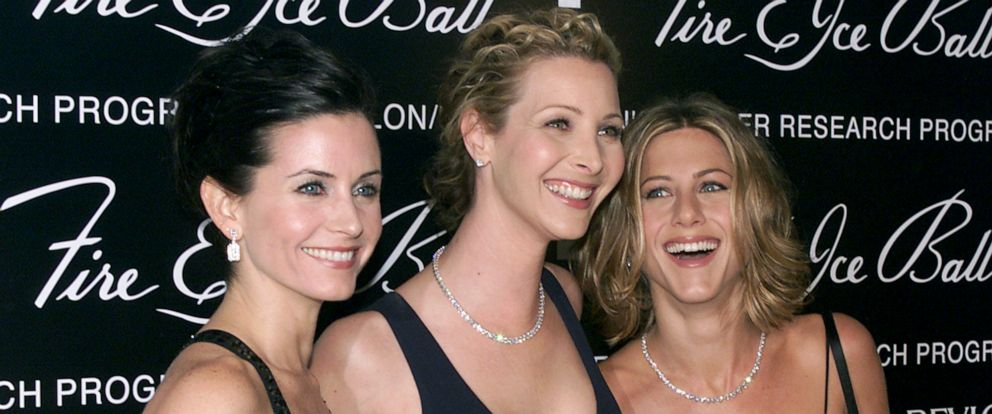 PHOTO: Courteney Cox Arquette, Lisa Kudrow and Jennifer Aniston attend the 10th annual Fire & Ice Ball at the Beverly Hilton Hotel in Los Angeles, Dec. 11, 2000.