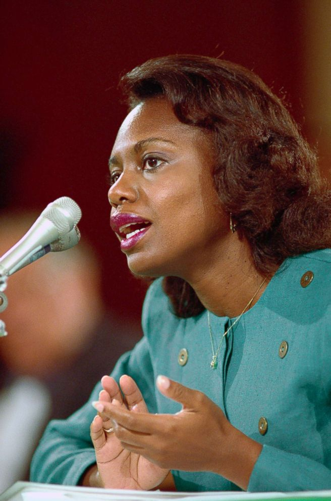 PHOTO: Professor Anita Hill testifies before the Senate Judiciary Committee on the nomination of Judge Clarence Thomas to the U.S. Supreme Court, Oct. 11, 1991.