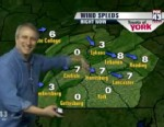 VIDEO: Actor Bronson Pinchot takes over Pennsylvania morning news programs weather report.