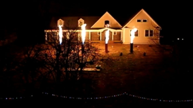 flame shooting christmas light show heats things up on the jersey shore this holiday season