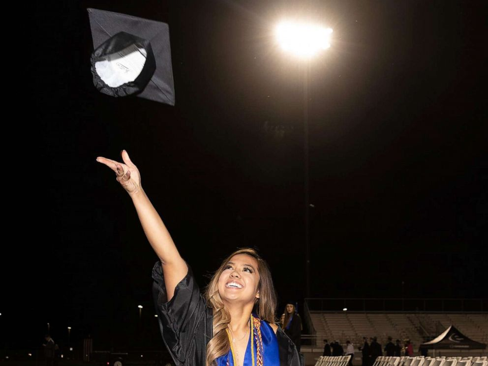 PHOTO: Anna Sarol walked for the first time in years across her graduation stage to receive her diploma.