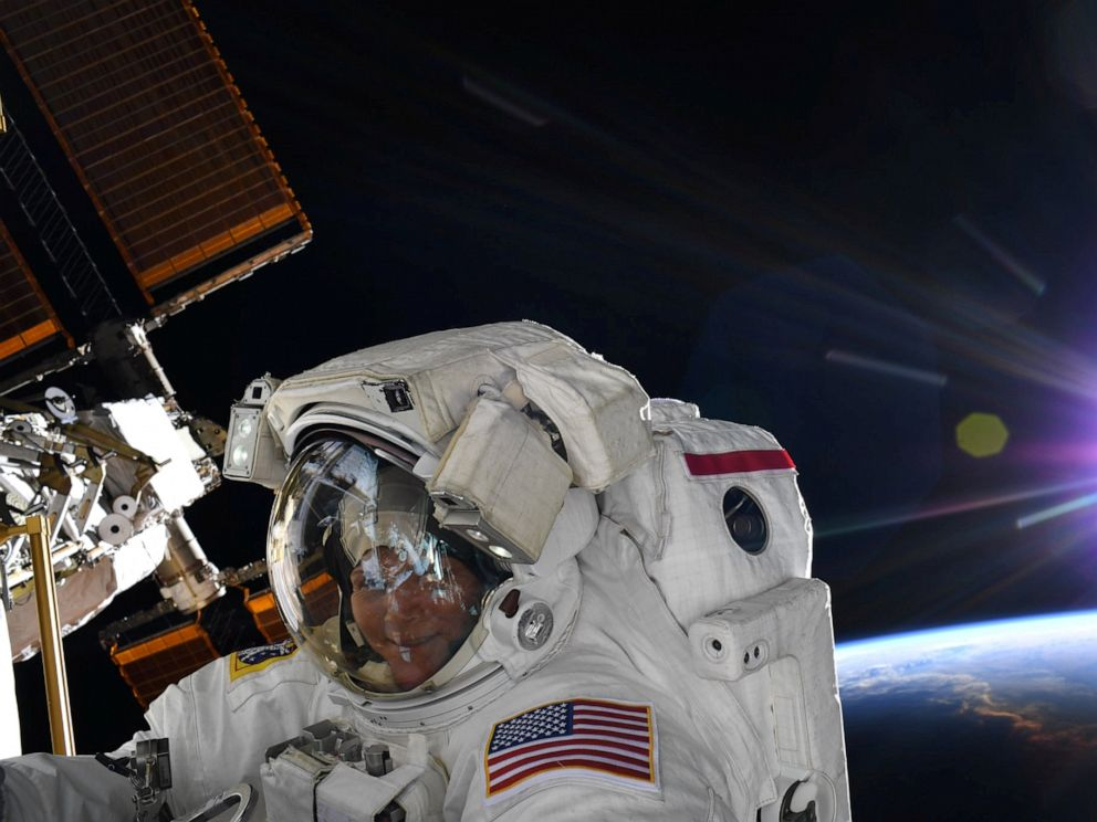 PHOTO: NASA astronaut Anne McClain is seen during a spacewalk at the International Space Station in this social media photo, March 22, 2019.
