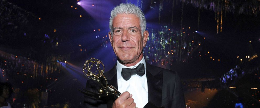 "PHOTO: Anthony Bourdain winner of the award for outstanding informational series or special for ""Anthony Bourdain: Parts Unknown"" attends the Governors Ball during night two of the Creative Arts Emmy Awards at the Microsoft Theater in Los Angeles."