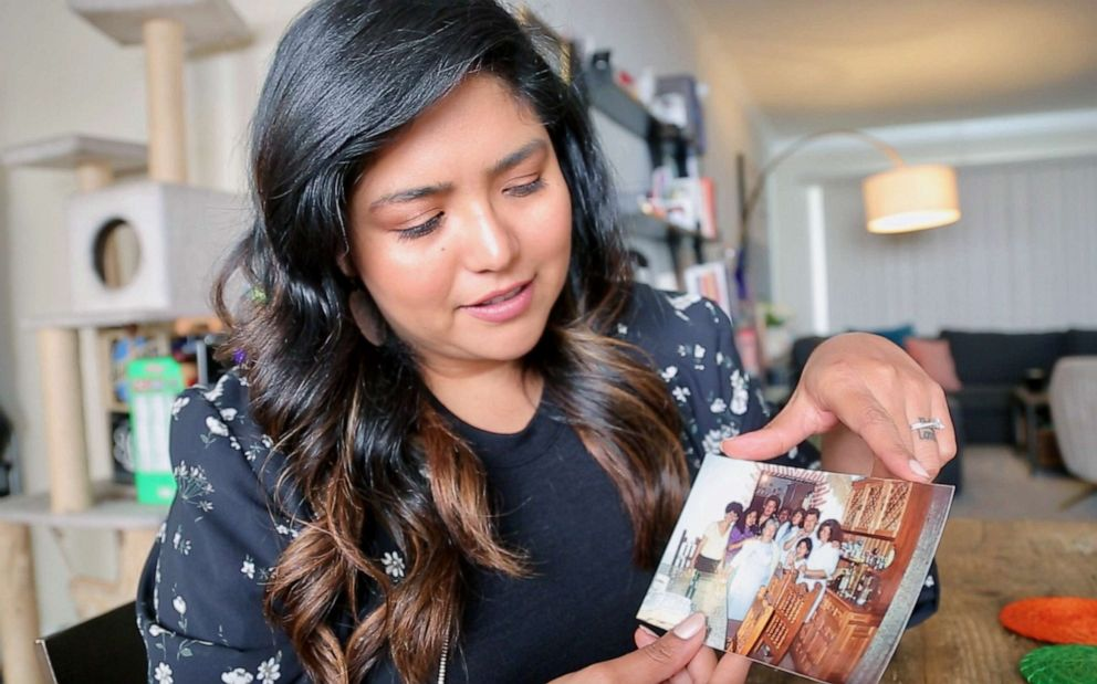 PHOTO: Writer and activist Julissa Arce shows a family photo of a gathering at her grandmothers house in Mexico. September 30, 2019.