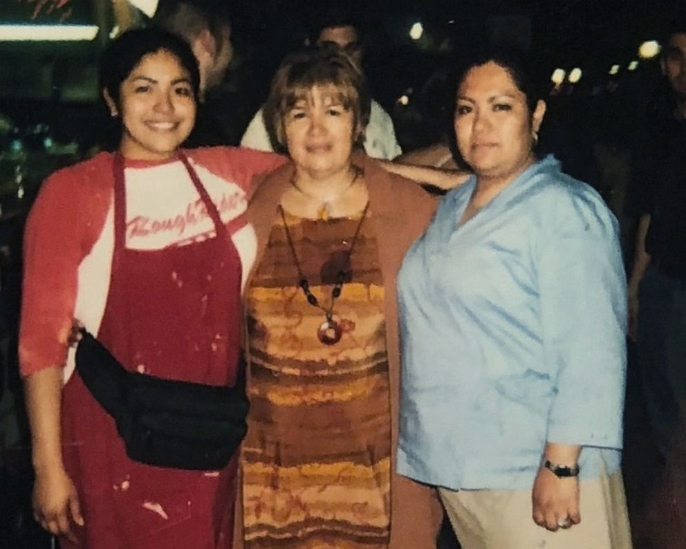 PHOTO: Writer and activist Julissa Arce (left) in a photo next to her mother and sister in front of their familys funnel cake stand in San Antonio, Texas.