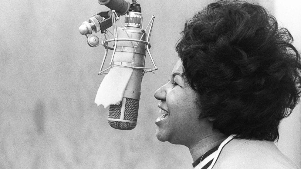 Aretha Franklin sings in the Atlantic Records studio on Jan. 9, 1969 in New York.