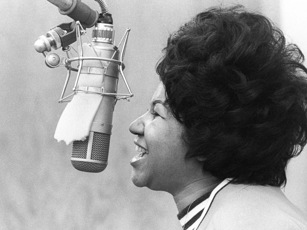 PHOTO: Aretha Franklin sings in the Atlantic Records studio on Jan. 9, 1969 in New York.