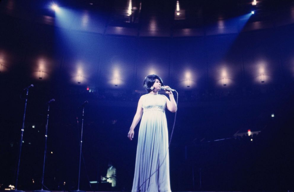 PHOTO: Aretha Franklin performs during a concert at Madison Square Garden on June 28, 1968 in New York.