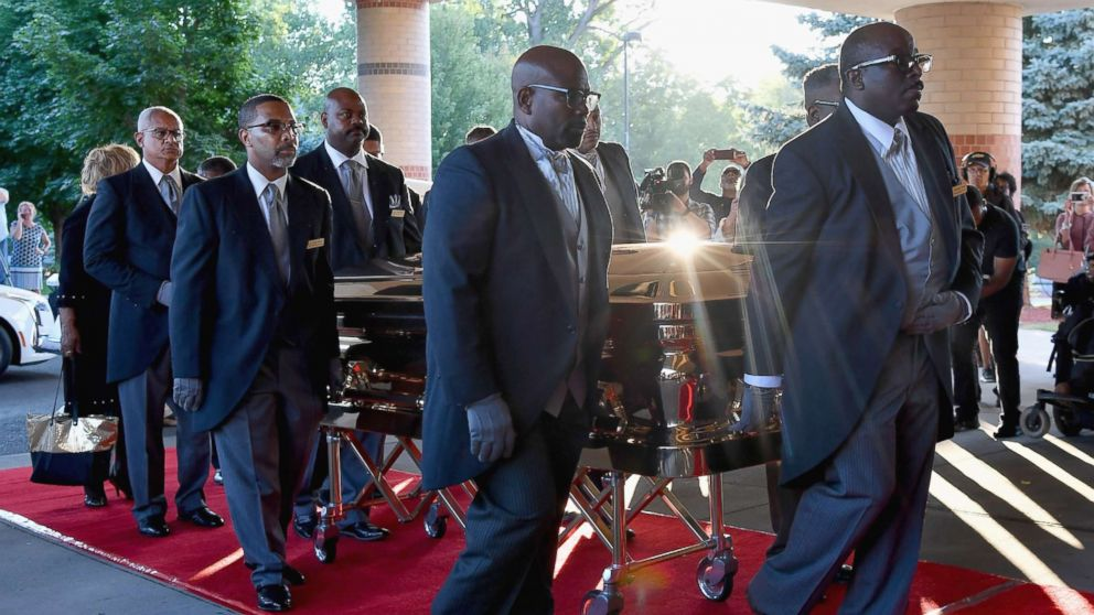 The casket of Aretha Franklin arrives at the Greater Grace Temple, Aug. 31, 2018, in Detroit.