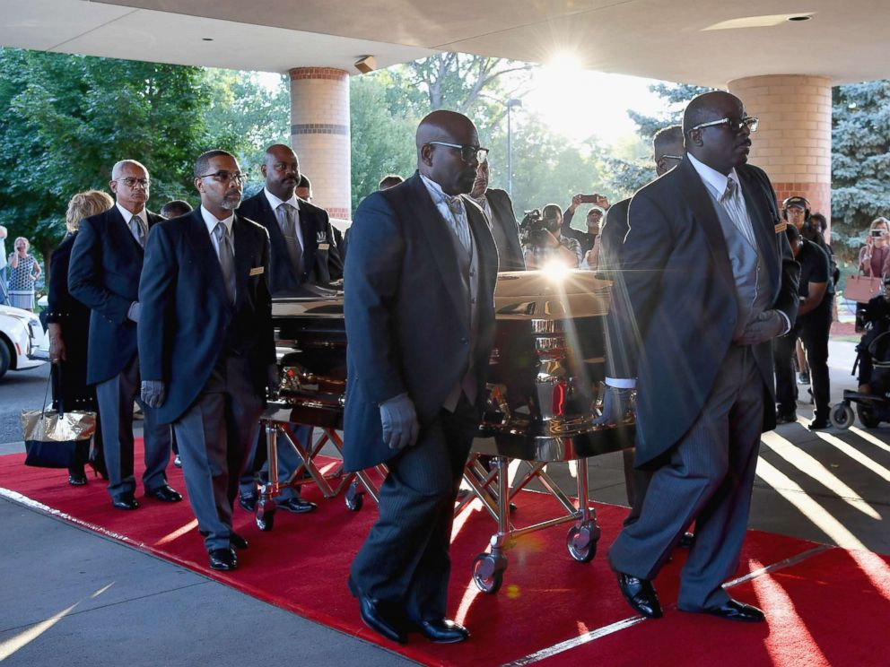 PHOTO: The casket of Aretha Franklin arrives at the Greater Grace Temple, Aug. 31, 2018, in Detroit.
