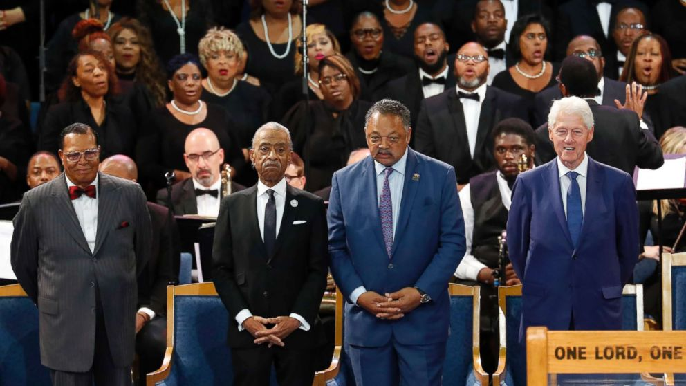 Louis Farrakhan, from left, Rev. Al Sharpton, Rev. Jesse Jackson and former President Bill Clinton attend the funeral service for Aretha Franklin at Greater Grace Temple, Aug. 31, 2018, in Detroit.