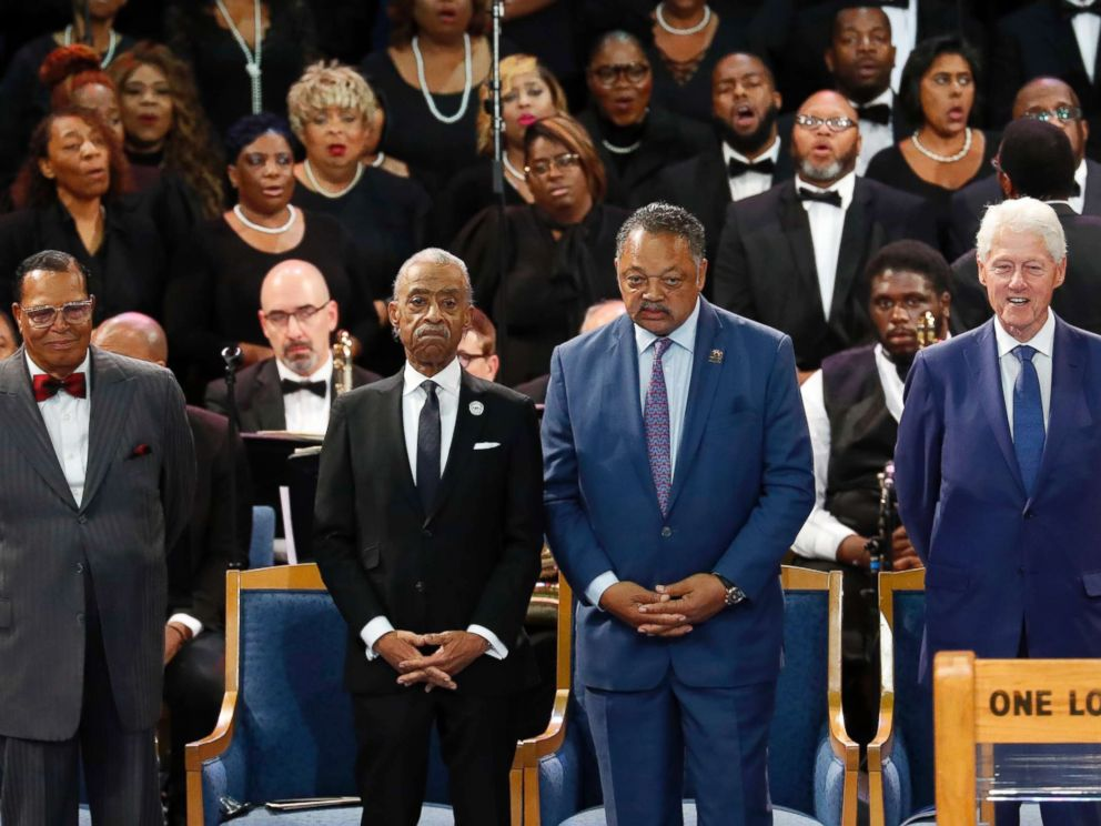 PHOTO: Louis Farrakhan, from left, Rev. Al Sharpton, Rev. Jesse Jackson and former President Bill Clinton attend the funeral service for Aretha Franklin at Greater Grace Temple, Aug. 31, 2018, in Detroit.