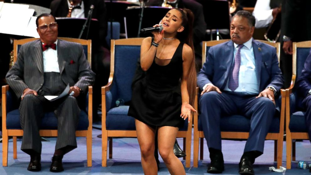 Singer Ariana Grande performs at the funeral service for Aretha Franklin at the Greater Grace Temple in Detroit, Aug. 31, 2018.