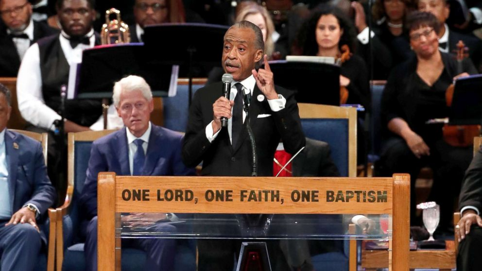 Rev. Al Sharpton speaks at the funeral service for the late singer Aretha Franklin at the Greater Grace Temple in Detroit, Aug. 31, 2018.