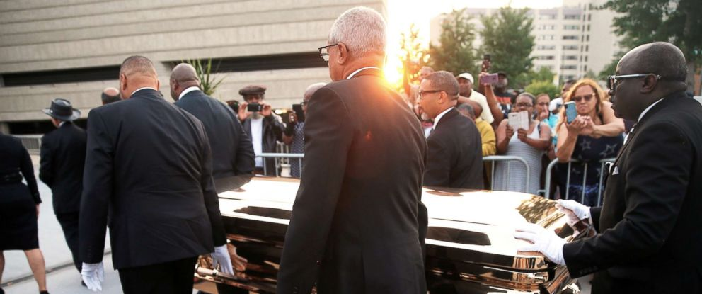 PHOTO: The casket carrying the late singer Aretha Franklin arrives at the Charles H. Wright Museum of African American History where she will lie in state for two days of public viewing in Detroit, Aug. 28, 2018.