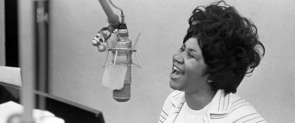 PHOTO: Aretha Franklin sings in the Atlantic Records studio during a recording session, Jan. 9, 1969, in New York City.