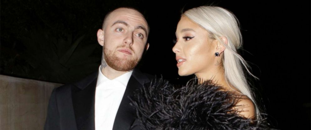 PHOTO: Rapper Mac Miller and singer Ariana Grande attend an Oscar party on March 4, 2018 in Los Angeles.