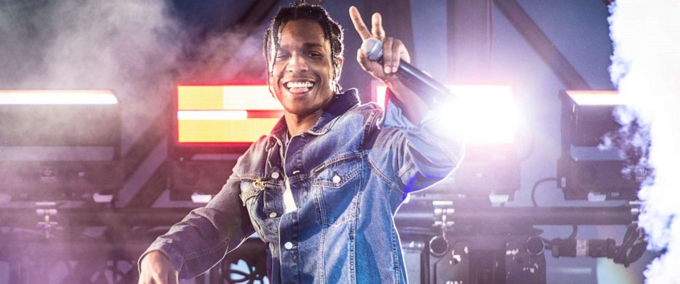 PHOTO: A$AP Rocky performs onstage during a surprise performance for Calvin Klein Jeans X Amazon Fashion Launch NYC Market at Flatiron Plaza on October 5, 2018 in New York City.