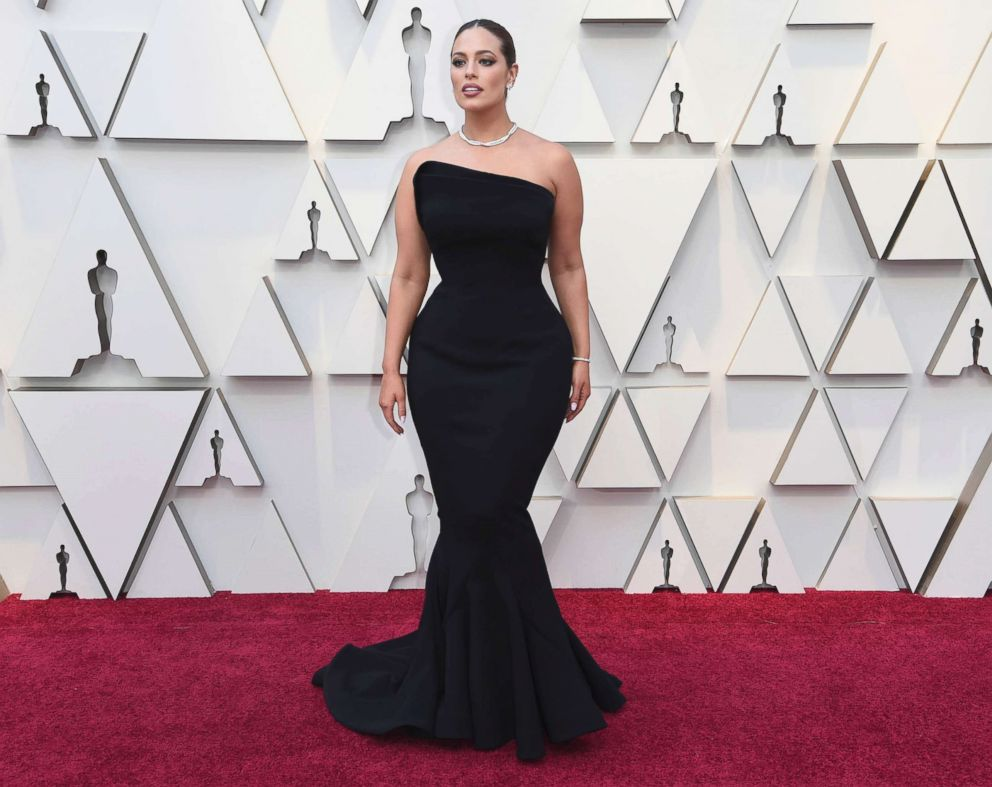 Ashley Graham arrives at the Oscars, Feb. 24, 2019, at the Dolby Theatre in Los Angeles.