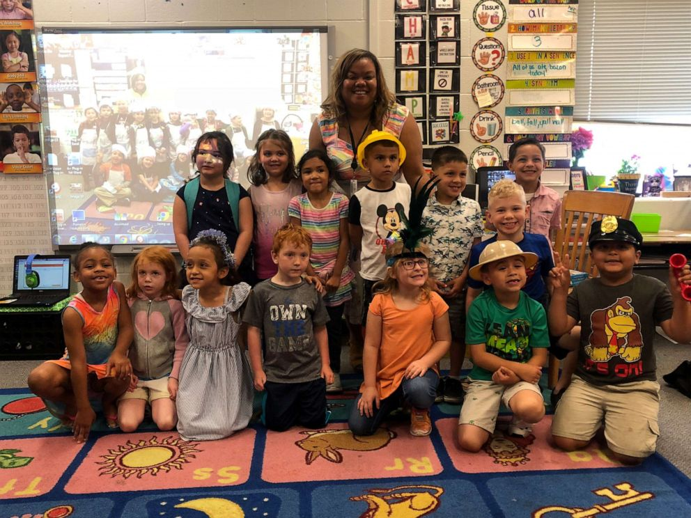 Ashley Hicks is pictured here with her kindergarten class.