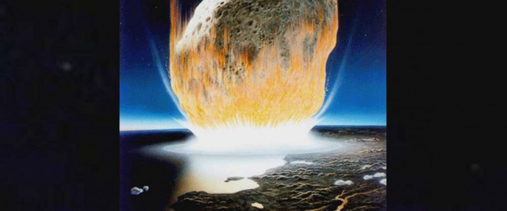 PHOTO: An artist's interpretation of the asteroid impact that wiped out all non-avian dinosaurs.