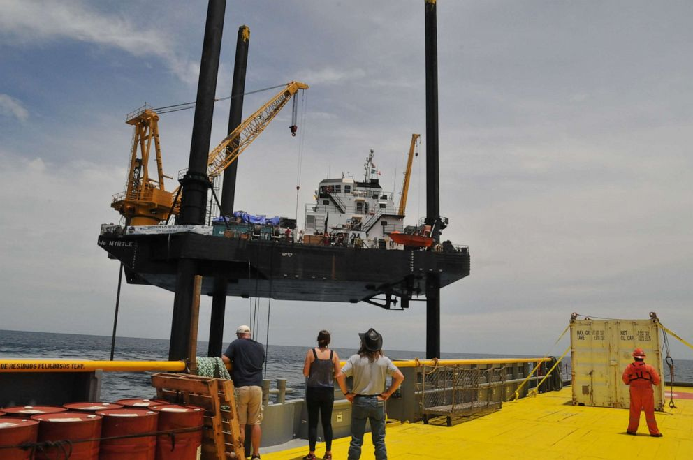 PHOTO: Approaching the Liftboat Myrtle, the vessel where the 2016 coring expedition took place.