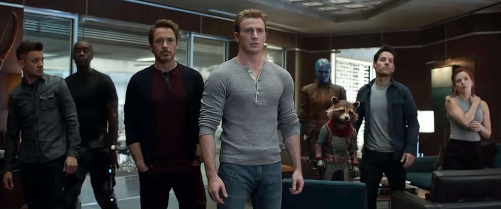 "PHOTO: This image grab made from video shows the cast of ""Avengers: Endgame."""