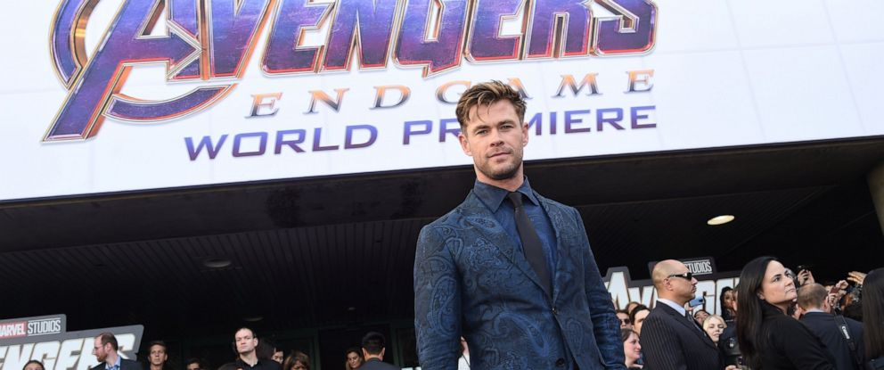 """PHOTO: Chris Hemsworth arrives at the premiere of """"Avengers: Endgame"""" at the Los Angeles Convention Center on Monday, April 22, 2019."""