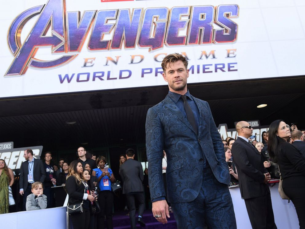 PHOTO: Chris Hemsworth arrives at the premiere of Avengers: Endgame at the Los Angeles Convention Center on Monday, April 22, 2019.
