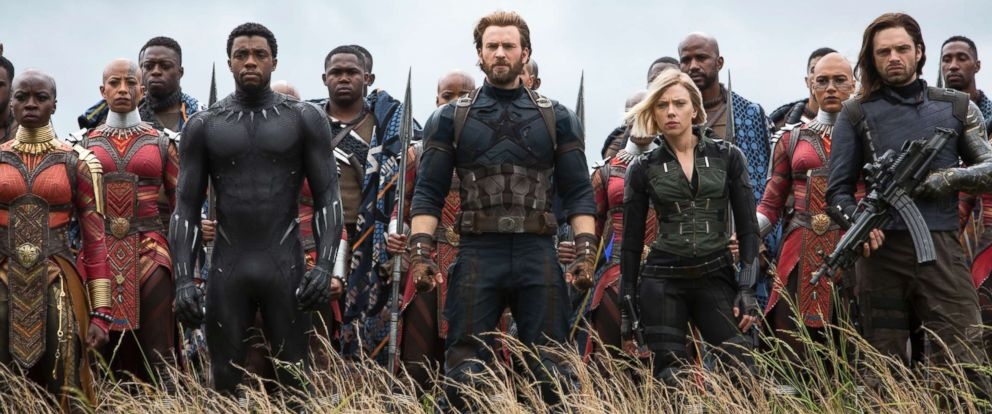 "PHOTO: Danai Gurira, as Okoye, Chadwick Boseman, as Black Panther, Chris Evans, as Captain America, Scarlett Johansson, as Black Widow, and Sebastian Stan, as White Wolf, in a scene from ""Avengers: Infinity War."""