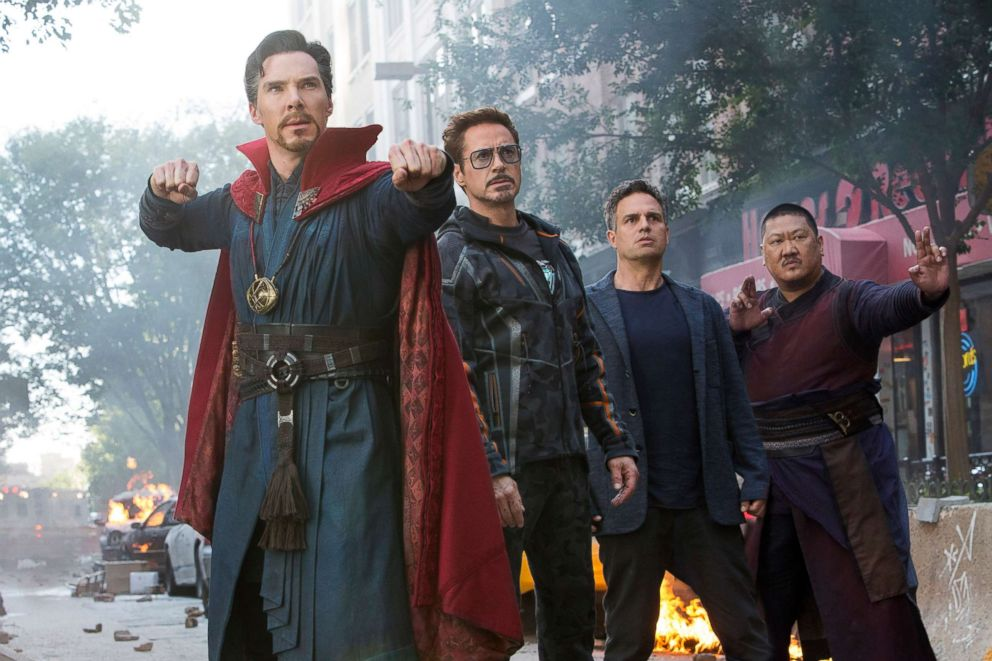 PHOTO: Benedict Cumberbatch, Robert Downey Jr., Mark Ruffalo and Benedict Wong in a scene from Avengers: Infinity War.