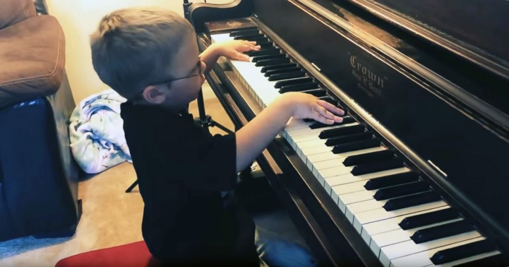 Avett Maness, 6, was born blind in one eye and vision impaired in the other, but that hasn't affected his impressive musical skills.""